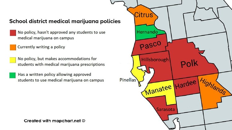 Medical marijuana policies by school district