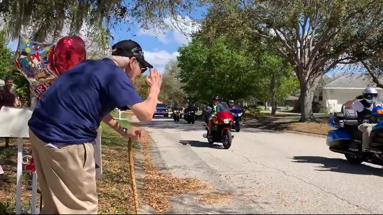 World War II veteran in Sarasota honored with birthday parade