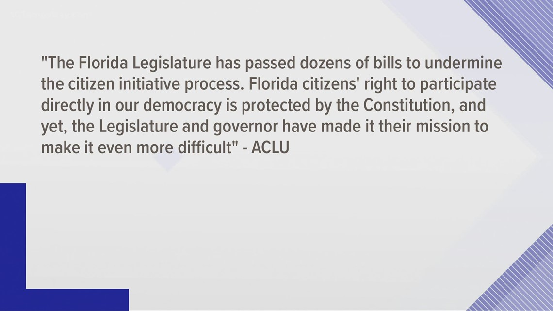 ACLU of Florida files lawsuit over new law limiting contributions to ballot initiatives