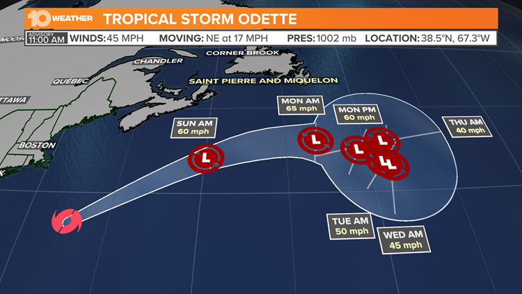 NHC: Tropical Storm Odette forecast to be a strengthening post-tropical cyclone by Saturday night