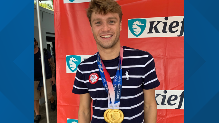 Bobby Finke returned home to Clearwater after winning gold twice at Tokyo Olympics