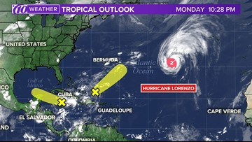 There are 2 areas of possible tropical development