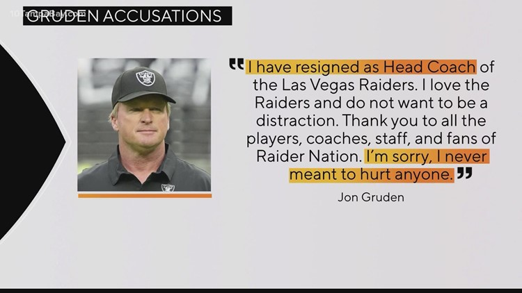 Former Bucs coach Jon Gruden out as Raiders head coach; new trove of emails released