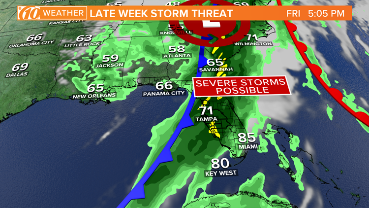 Florida severe weather outlook: Tornadoes and damaging winds possible Friday