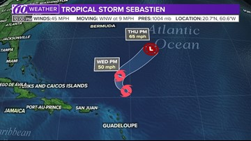 Tropical Storm Sebastien remains at steady strength in the Atlantic