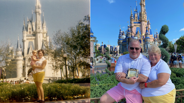 Mother and son recreate 1971 Disney World opening day photo 50 years later