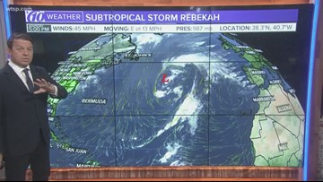 Subtropical Storm Rebekah becomes 17th named storm