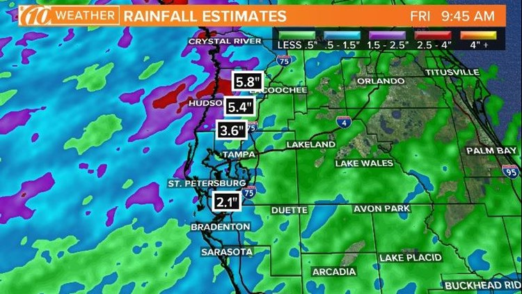 Several inches of rain has fallen, more expected