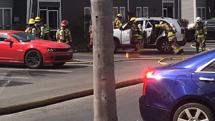 3 buildings evacuated after car crashes into apartments, hits natural gas line