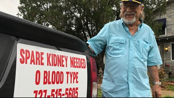 Navy veteran hopes his bumper billboard leads to kidney transplant