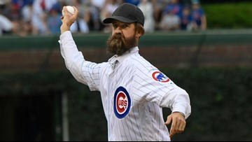 'Alligator Bob' throws out the first pitch at Chicago Cubs game