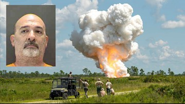 Air Force engineers blow up 7,700 pounds of explosives seized from Sarasota man