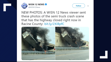 Scary photos show semi-truck went off overpass in multi