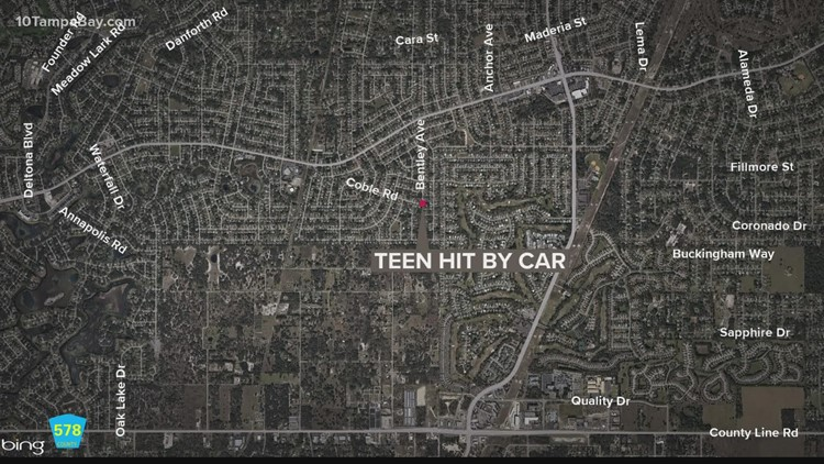 Teen hit by car while walking to bus stop in Spring Hill