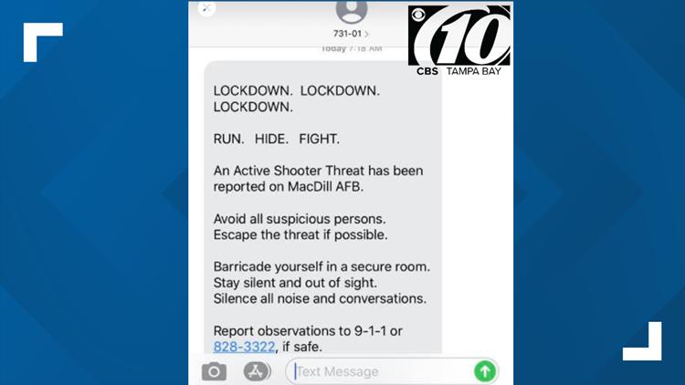 text message ugc macdill afb lockdown