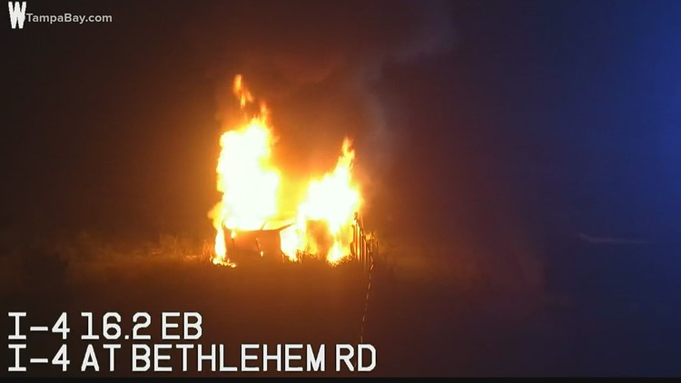 At least 1 person hurt in fiery crash on I-4