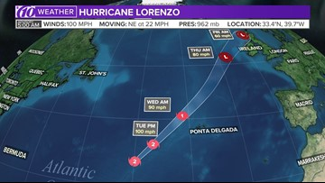 Hurricane Lorenzo turns into a post-tropical cyclone