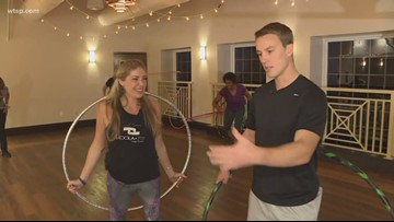 Drop the weight with hula hooping class