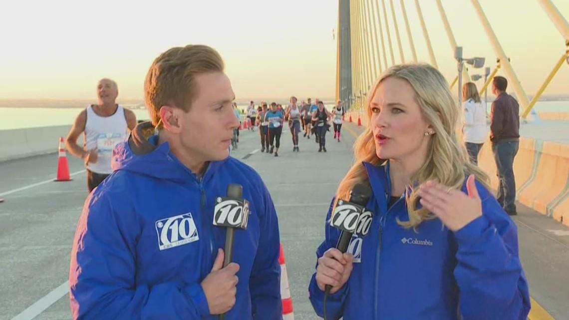 Skyway 10K: Views from the top of the bridge, race winner crosses finish line