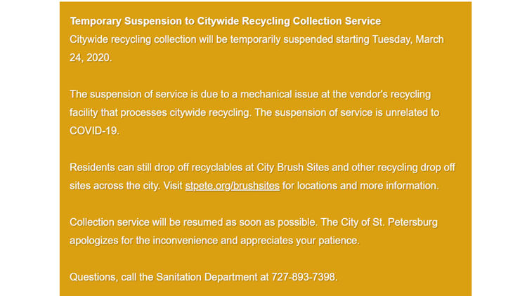 City of St. Petersburg stops curbside recycling