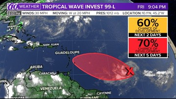 Low pressure area in Atlantic could become a tropical depression this weekend
