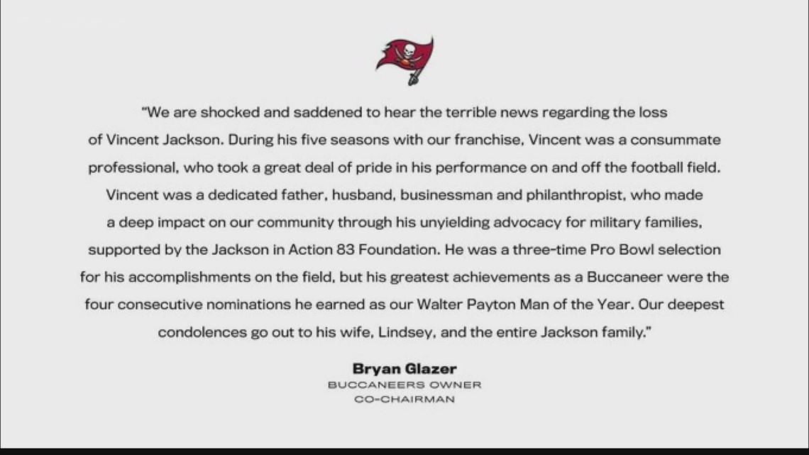 Tampa Bay reacts to the death of former Buccaneer Vincent Jackson