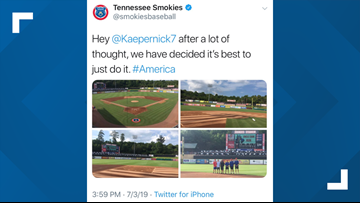 Minor league baseball team deletes tweet with Betsy Ross flag drawn on infield
