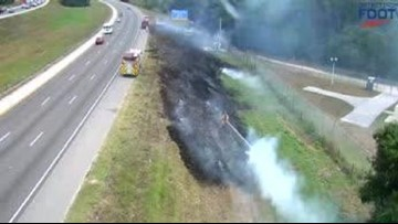 Brush fire slows traffic on I-75 in Manatee County