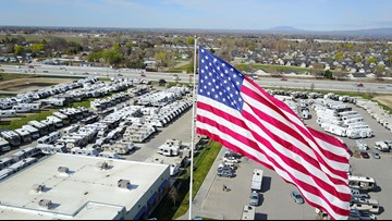 City trying to force RV lot to take down giant US flag