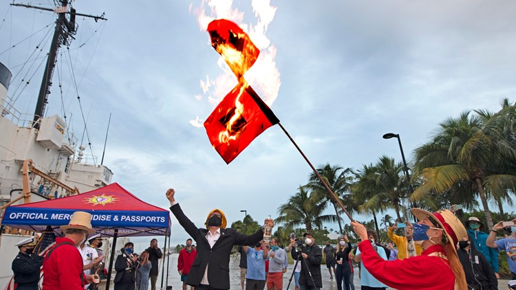 Key West ends hurricane season by burning storm warning flags