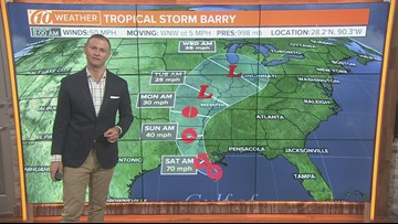 Tropical Storm Barry inches near Louisiana coast