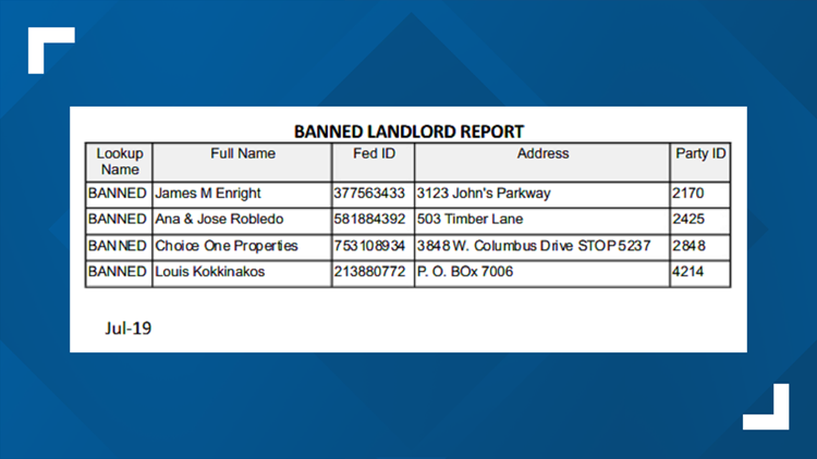 banned landlord report 7 10 19