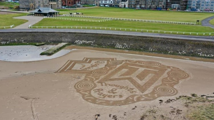 'The Home of Golf' features sand tribute to Tiger Woods as he recovers from crash