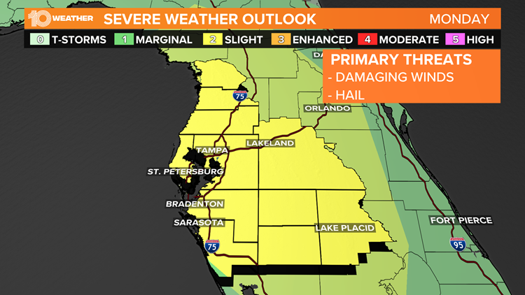 Risk for hail and damaging winds Monday afternoon in the Tampa Bay area