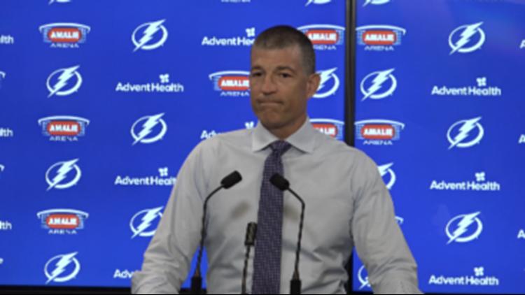 Lightning GM Julien BriseBois gets emotional while speaking on Stanley Cup run