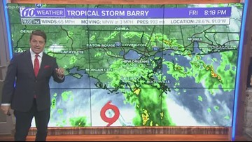 11 p.m. Tropical Storm Update: Barry still expected to hit hurricane strength