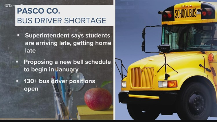 Pasco County superintendent to propose new bell schedule due to bus driver shortage