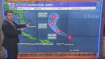 Hurricane Jerry a Category 1 hurricane
