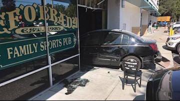 'You just wonder how she made it': Man marvels wife alive after car smashes into restaurant