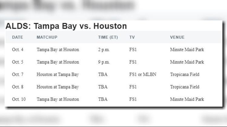 Tampa Bay and Houston schedule