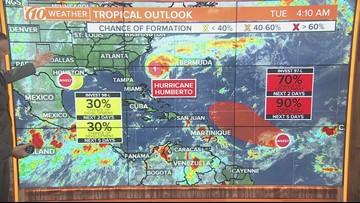 Forecasters tracking 3 systems, including Hurricane Humberto