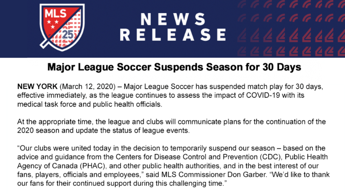 Major League Soccer Suspends 2020 Season Because Of Coronavirus Wtsp Com