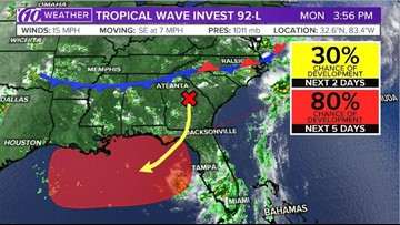 5f517d3abfee Gulf of Mexico disturbance has 80-percent chance of developing, likely to  move west | 13newsnow.com