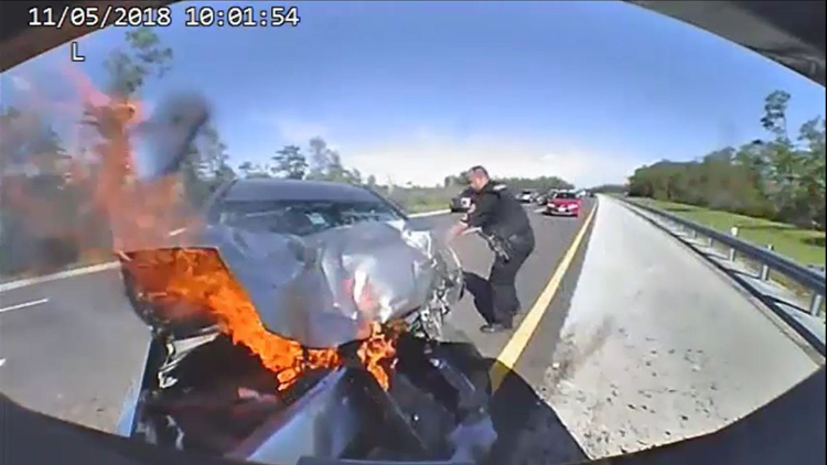 Florida trooper pulls driver from fiery wreck in Lee County