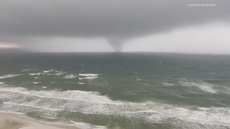 Panama City Beach waterspout comes ashore