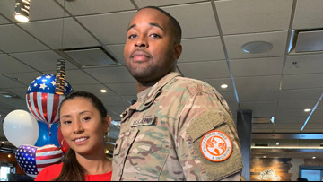 Fourth of July Homecoming: Military husband surprises wife during lunch break