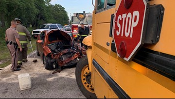 School bus, car involved in head-on crash in Pasco County