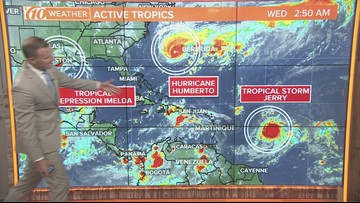 Tropical Storm Jerry moving WNW