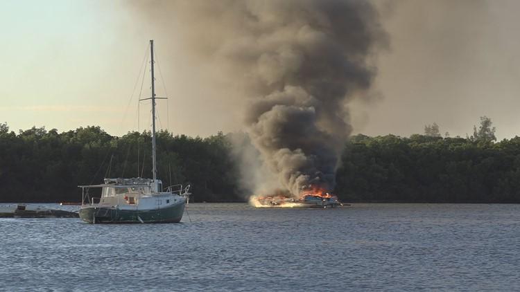 30-foot boat catches fire near Gandy Beach