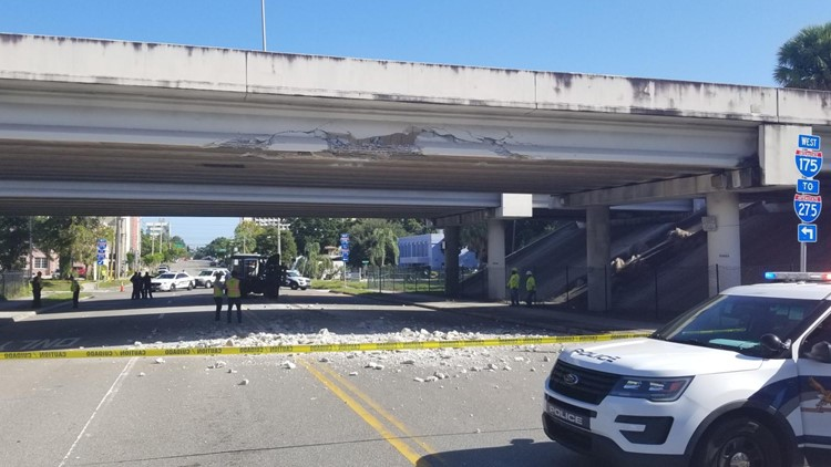 Truck hits Interstate 175 overpass, closes roads in downtown St. Petersburg